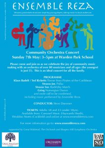 Flyer for Community Orchestra concert at Warden Park School, Sunday 7 May